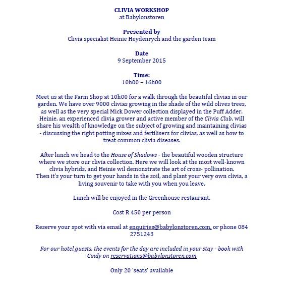 Clivia Workshop