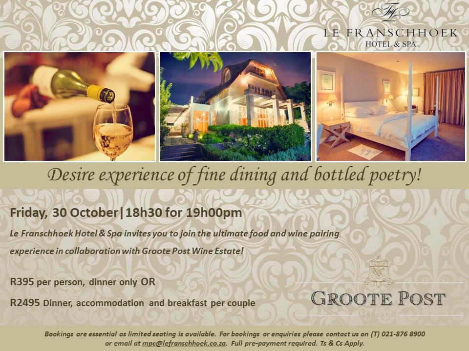 Groote Post wine dinner FB post