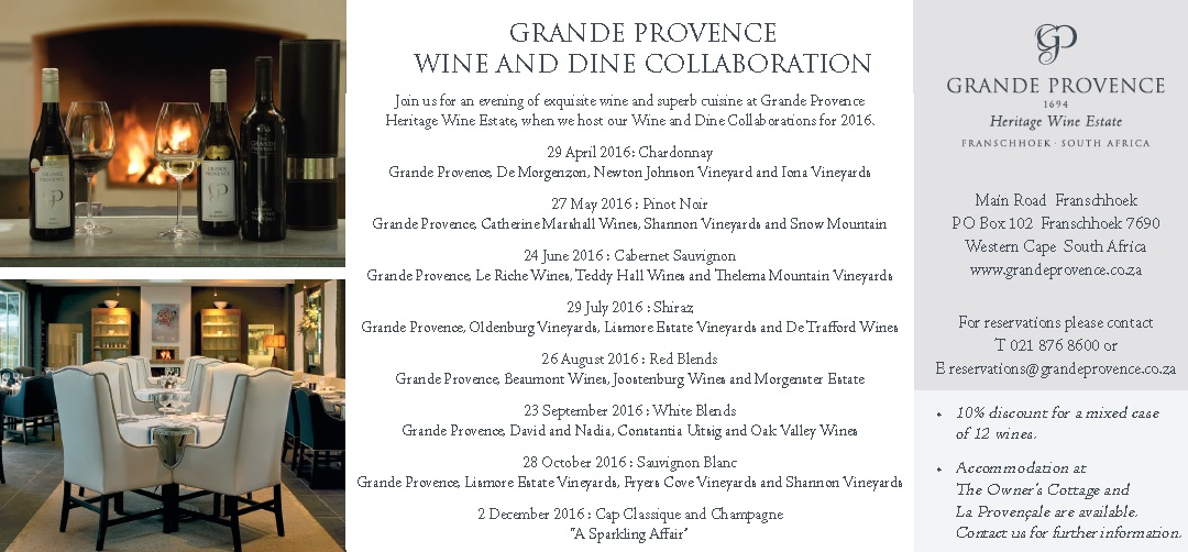 GP Wine and dine for the year